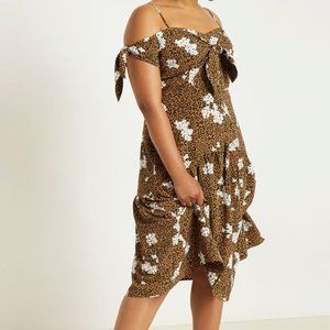 Eloquii Tie Front Fit & Flare Dress